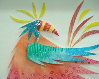 """Original paper Sculpture """" First Bird"""" one of a kind, colorful, childs  room"""