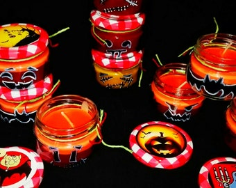 Halloween in glass jar candles.