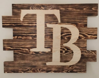 Tampa Bay Rays Baseball charred burnt wood sign
