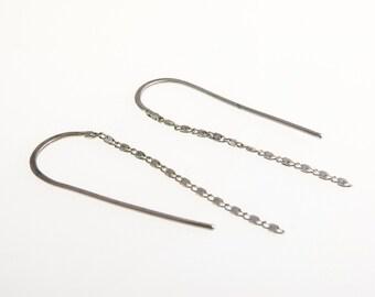 Earrings, sterling silver chain