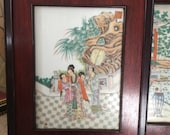 Set of two vintage Chinese paintings on porcelain tile panels, framed vintage paintings on porcelain tiles, original signed artwork