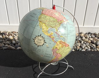 Mid Century inflatable globe on aluminum stand