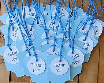 Favor Tags, Thank You Tags, 25 Blue Thank You Favor Tags, Homemade Baby Shower Tag, Baby Shower Favor, Blue Baby Favor Tags, Thank You Tags