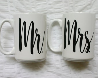 15oz Mr. and Mrs. Calligraphy Mugs