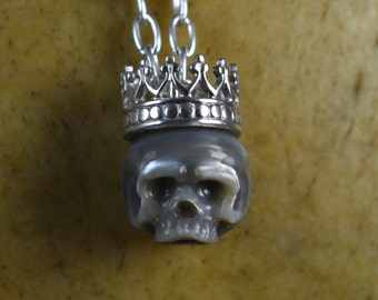 Carved Pearl Skull Necklace with Sterling Silver Crown - Grey Pearl Skull Pendant - Valentine's Necklace - Pearl Necklace - Unique Gift