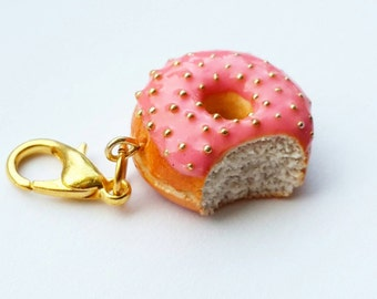 Pink Donut Charm or Necklace - Polymer Clay Strawberry Donut - Polymer Clay Food Donut Jewelry- Miniature Food Jewelry - Doughnut Necklace
