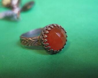 Chalcedony ring in Orange