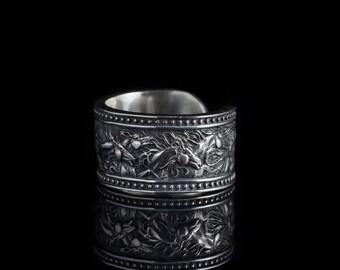 Horses Ring, sterling silver, handmade ... herd ring, herd of horses ring, running horses ring