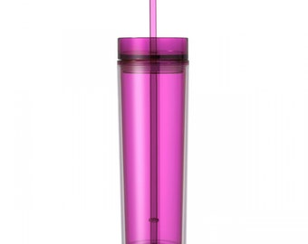 Pink Skinny Tumbler with Straw- 16 oz.