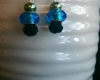 Blue and Black Bicone Crystal Bead Earrings