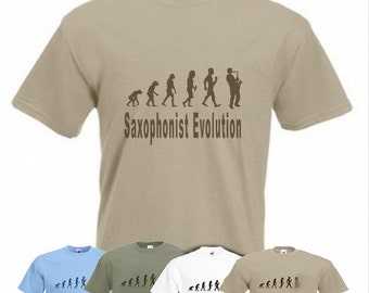 Evolution To Saxophonist  t-shirt Funny Saxophone T-shirt sizes Sm TO 2XXL