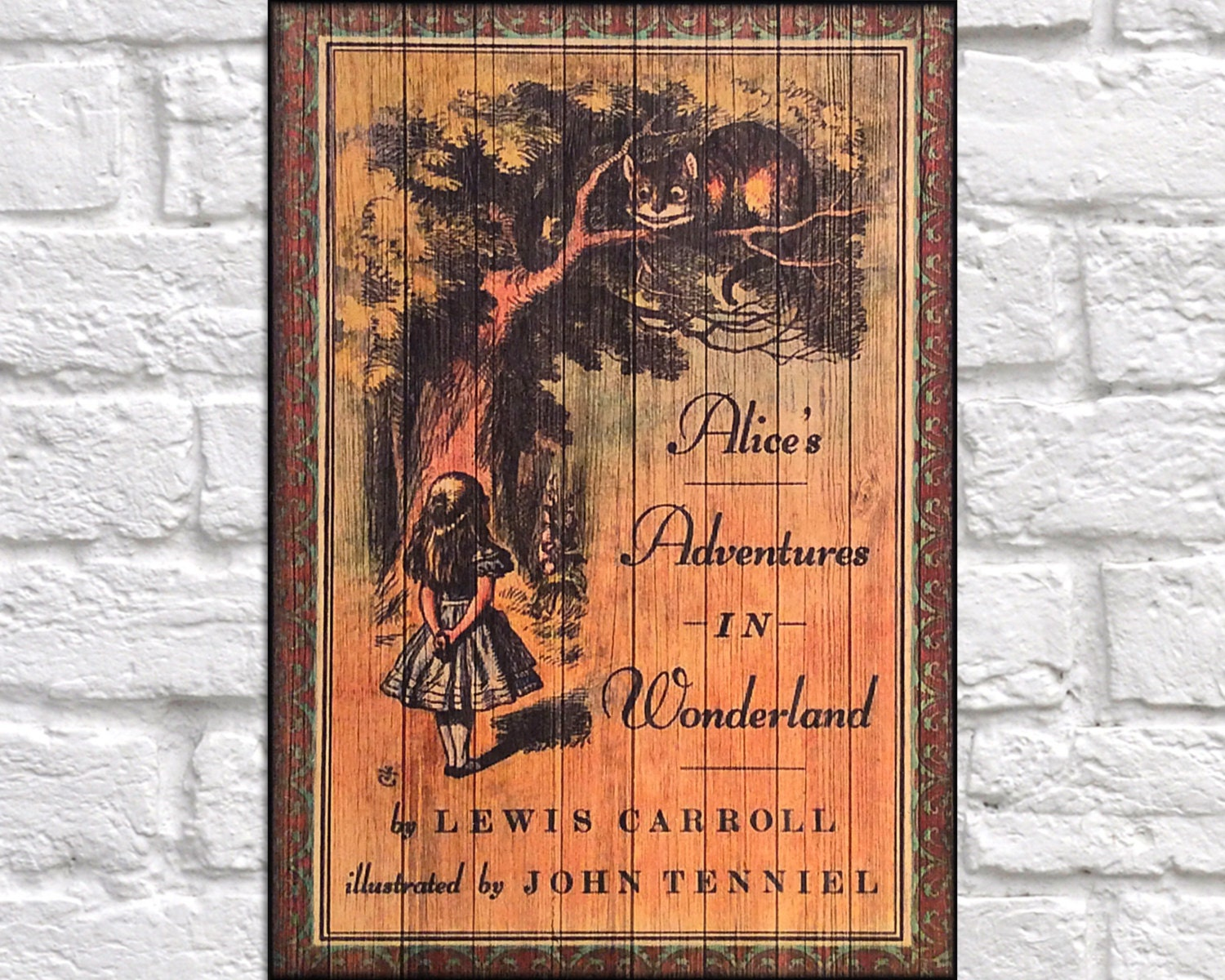 Book Cover Wall Art : Wood lewis carroll book cover print wall art rustic panel