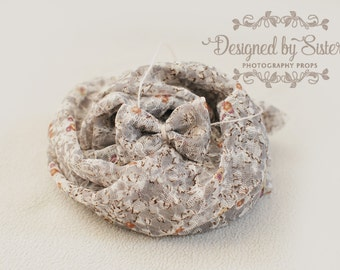 grey stretch lace wrap / newborn to adult tieback / RTS photo prop / lace cocoon / bow tieback / UK seller