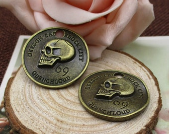 5PCS,28x28mm  Round Tag,Skull Charm , Bronze Skull pendant,Craft Supplies,Gadgets,Luck Forever--p1081