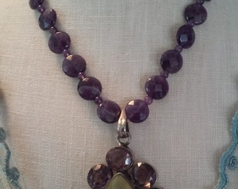 Amethyst and Citrine Sterling Silver Pendant Necklace