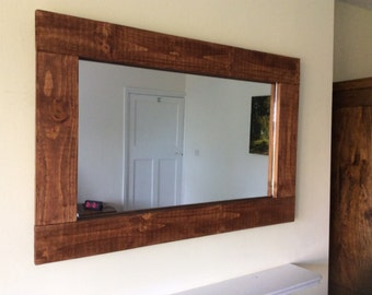 Rustic reclaimed wooden chunky mirror in teak stain