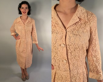 Vintage 1950s Dress | 50s 60s Lace Illusion Neckline Dress | Extra Large