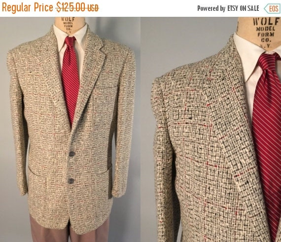 Vintage 1950s Mens Sport Coat | Grey and White Jacket with Red Woven Windowpane | Size 40 $75.00 AT vintagedancer.com