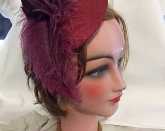 Red Fascinator with silk flowers and spring