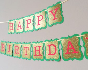 Christmas birthday banner, Christmas banner, red and green bunting, Merry Christmas Banner