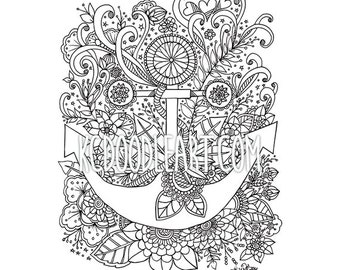 instant digital download adult coloring page anchor