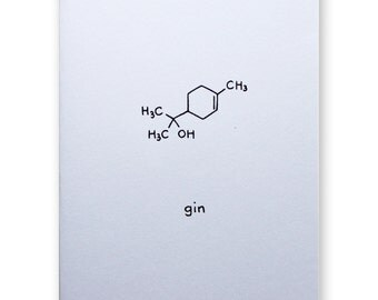 Gin Molecule Card - Alcohol Chemistry Science Nerd Geek Card - Party Celebration Any Occasion