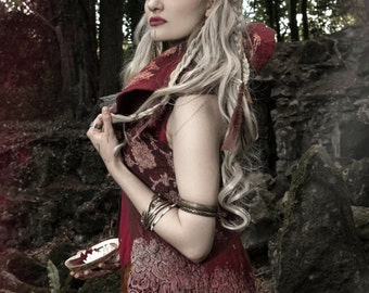 Warrior princess felted burgundy   waistcoat in merino wool with silk organza inlaid MADE to ORDER