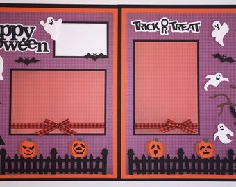 """2 - Premade 12x12 """"Halloween"""" Scrapbook Page Layouts, Trick or Treat"""