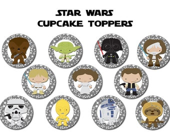Star Wars Cupcake Toppers, Star Wars Party, Instant Download, Printable File