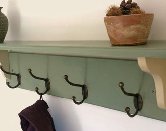 Hallway coat rack with hooks and shelf, handmade from solid wood by MT-rustico