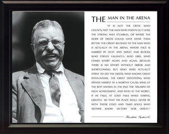"""Theodore Teddy Roosevelt """"Man in the Arena"""" Quote 8x10 Framed Picture"""