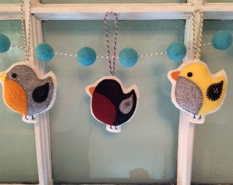 Bird Ornaments, Wool Felt, Hanging Decoration