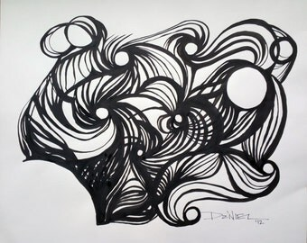 Modern Original India Ink Drawing OOAK