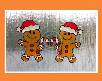 Gingerbread Men window clings for Christmas, glass & window areas, reusable faux stained glass effect decal, static cling suncatcher decals