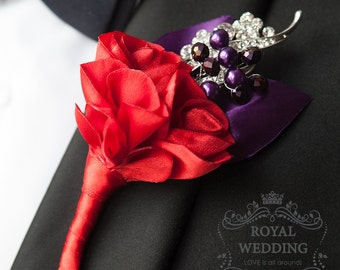 Red Boutonniere Buttonhole Purple Boutonniere Groom Groomsmen Wedding Boutonniere Father Of The Bride Brooch Boutonniere Bridal Boutonniere