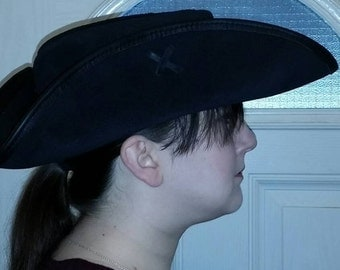 Hand made leather / suede tricorn hat