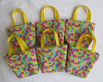 Set of 6 Easter Fabric Gift Bags/ Party Favor Bags/ Easter Goody Bags- Jelly Beans