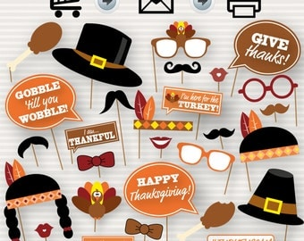 Thanksgiving Party Printable Photo Booth Props - Glasses, Hats, Ties, Lips, Mustaches, Turkey - INSTANT DOWNLOAD - Party Printable