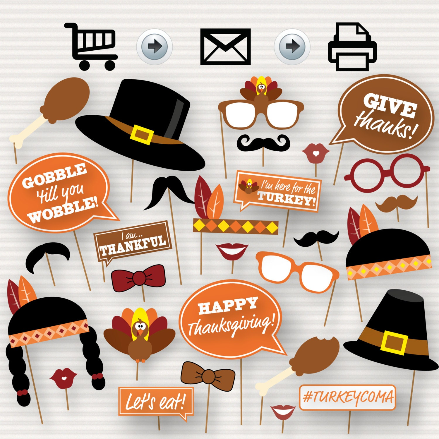 Christmas Party Photo Booth Ideas Part - 31: Thanksgiving Party Printable Photo Booth Props - Glasses, Hats, Ties, Lips,  Mustaches