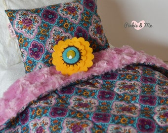 Doll Bedding /  Doll Comforter And Pillows 3 piece Set ~ Flower