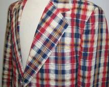 men's colorful plaid seersucker sport coat 1970's 44R