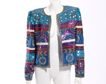 1980s Leslie Fay Evenings Sequin Jacket
