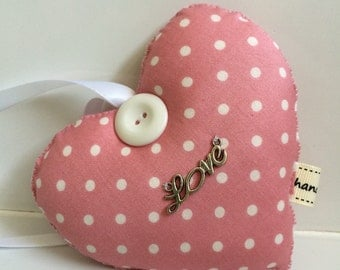 Pink spots love Heart.Fabric hanging heart. Hanging Heart. Home and living. Shabby chic decor. Love Heart.Valentines Heart