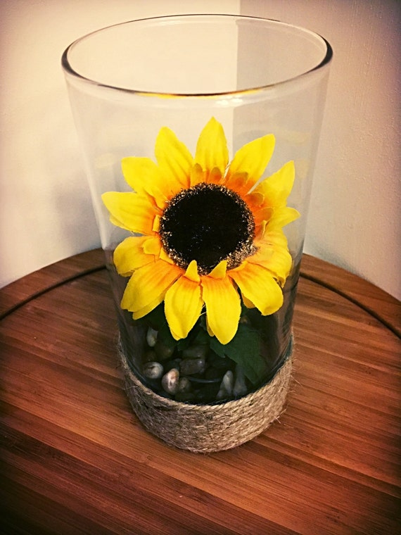 Rustic wedding centerpiece sunflower river by