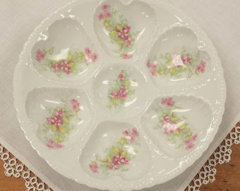 Victoria Austria Oyster Plate ~ Carlsbad Austrian Porcelain China ~ Pink Floral