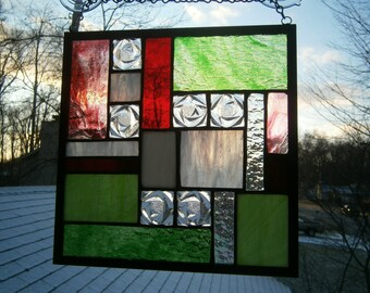 Stained glass panel,  red, green and white