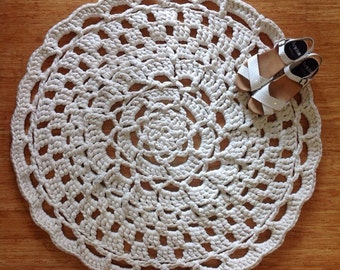 Example of custom order floor rugs - stunning handmade crochet rugs, doily style in your choice of colours