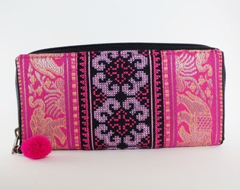 Hmong handmade embroidered zip around wallet [Elephants/Pink]