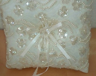 Wedding ring pillow beaded and embellished ivory lace