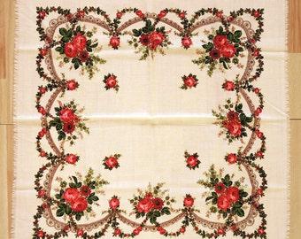 Vintage woolen shawl Woolen scarf with floral pattern #114